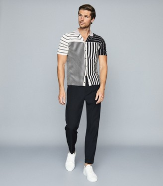 Reiss Orso - Striped Cuban Collar Shirt in Navy/ Soft Pink