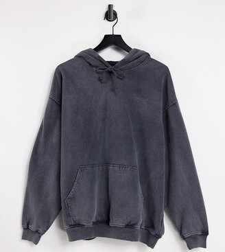 Reclaimed Vintage inspired oversized hoodie in overdye charcoal