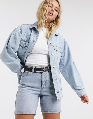 Topshop volume sleeve denim jacket in bleach wash