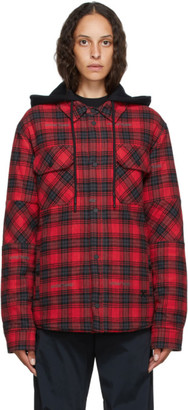 Off-White Red and Black Flannel Hoodie Jacket