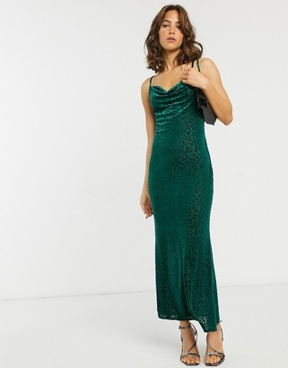 Pretty Lavish maxi cami dress in velvet leopard