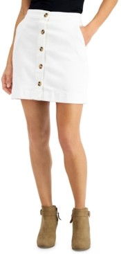 Maison Jules Button-Front Denim Skirt, Created for Macy's