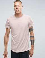 Selected Longline Raglan T-Shirt With Curved Hem