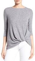 Gibson Petite Women's Twist Front Cozy Fleece Pullover