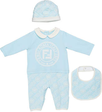 Fendi Logo Coverall w/ Matching Hat & Bib, Size 3-9 Months