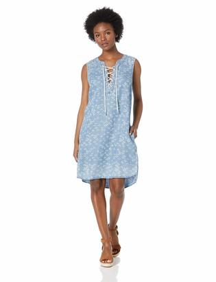 Tribal Women's Denim Slvless Lace Up Dress