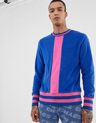 Asos Design DESIGN sweatshirt in towelling with stripe ribs in blue