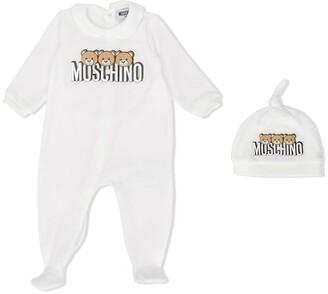 MOSCHINO BAMBINO Teddy logo babygrow with hat