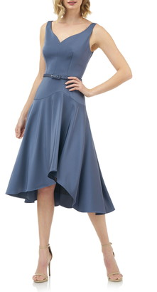 Kay Unger Belted Fit & Flare Dress