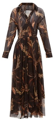 Norma Kamali Wheat-print Wrap Midi Dress - Brown Print