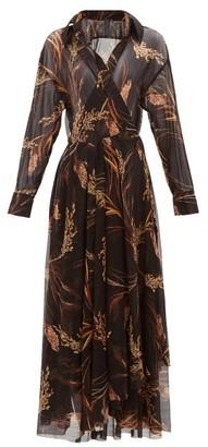 Norma Kamali Wheat-print Wrap Midi Dress - Womens - Brown Print