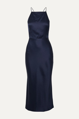 Jason Wu Collection Open-back Satin Midi Dress - Midnight blue