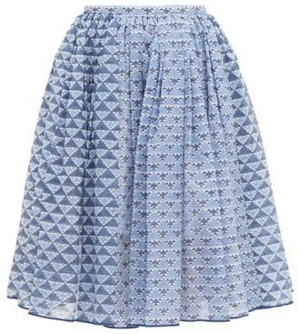 Thierry Colson Grisette Geometric-print Cotton-blend Skirt - Blue