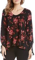 Karen Kane Floral Embroidered Tassel Tie Blouse