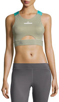 adidas by Stella McCartney Run Contour Sports Bra/Crop Top, Green/Blue