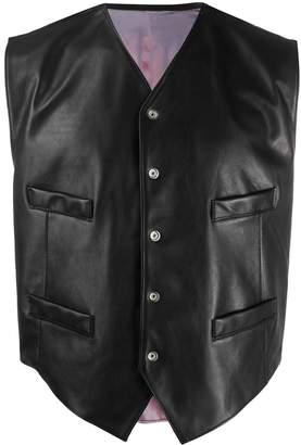 Magliano Collarless Leather Jacket