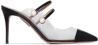 Aquazzura Oz 85mm faux pearl-embellished mules