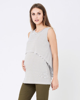 Ripe Maternity Women's White Sleeveless Tops - Stripe Swing Back Nursing Tank - Size One Size, XS at The Iconic