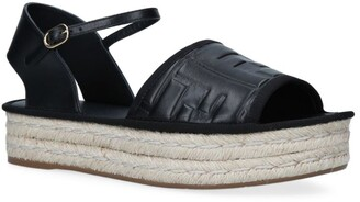 Fendi Leather Flatform Espadrilles 35