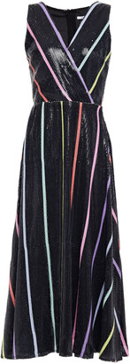 Olivia Rubin Thea Wrap-effect Sequined Striped Georgette Midi Dress
