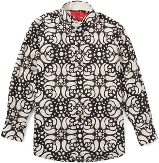 Elie Balleh Boys' Button Down Shirts BLACK - Black & White Paisley Contrast-Cuff Button-Up - Toddler & Boys