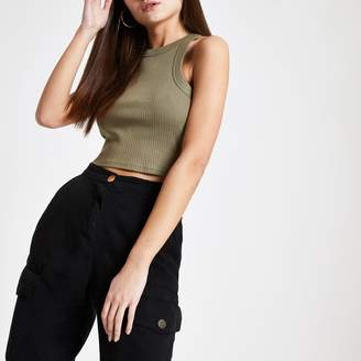 River Island Womens Khaki fitted crop vest