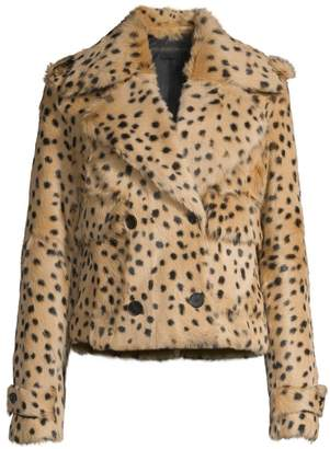 Pologeorgis Printed Dots Double-Breasted Shearling Cropped Jacket