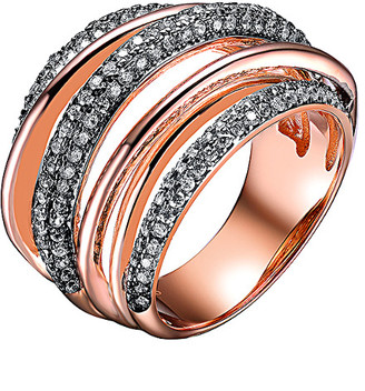 Genevive 18K Rose Gold Over Silver Cz Ring