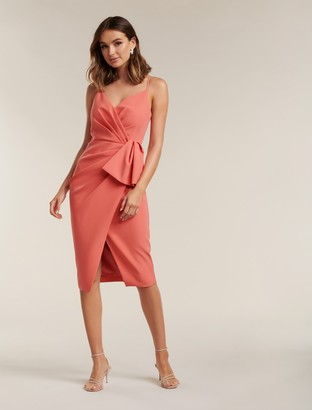 Forever New Alexis Wrap Midi Dress - Summer Melon - 10