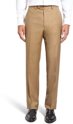Santorelli Flat Front Twill Wool Dress Pants
