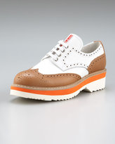 Prada Leather Lace-Up Oxford with Micro Detail