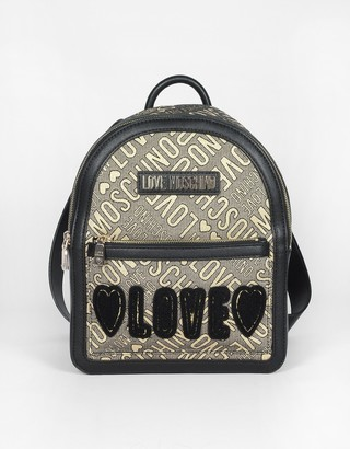 Love Moschino Signature Lurex, Canvas and Eco Leather Backpack
