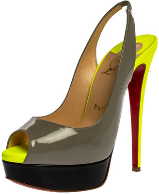 Christian Louboutin Grey/Green Patent Leather Lady Peep Slingback Platform Sandals Size 37