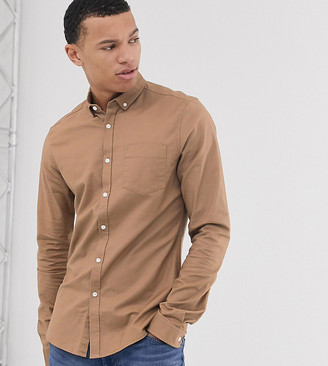 Asos Design DESIGN Tall slim fit oxford shirt in dark tan-Brown