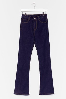 Nasty Gal Womens Flare Here for You High-Waisted Jeans - Dark Blue
