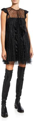 RED Valentino Glitter Tulle Mini Dress