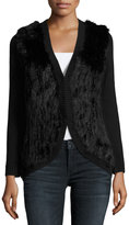 Joie Ellera B Fur-Trim Wool Sweater, Caviar