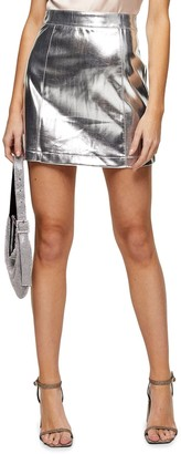 Topshop Silver Faux Leather Miniskirt