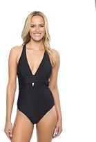 Athena Women's Cabana Solids Halter Wrap One Piece Swimsuit