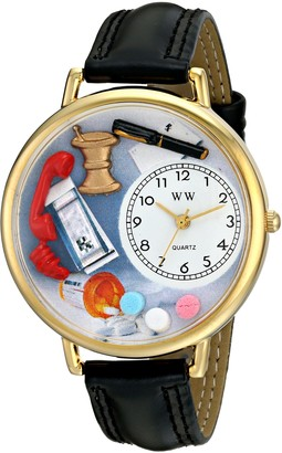 Whimsical Watches Pharmacist Black Padded Leather and Goldtone Unisex Quartz Watch with White Dial Analogue Display and Multicolour Leather Strap G-0620014