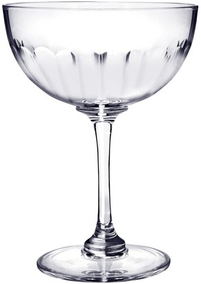 Six Hand-Engraved Crystal Champagne Saucers With Lens Design