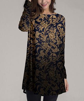 Nanu Women's Tunics Navy - Navy & Gold Floral Ombre Long-Sleeve Tunic - Women & Plus