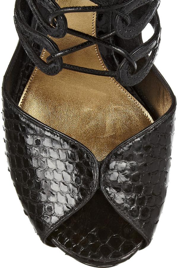 Alexander McQueen Lace-up python sandals