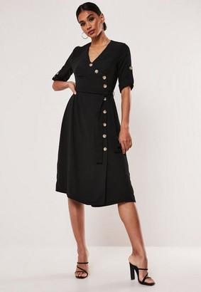 Missguided Black Tie Waist Button Side Midi Dress