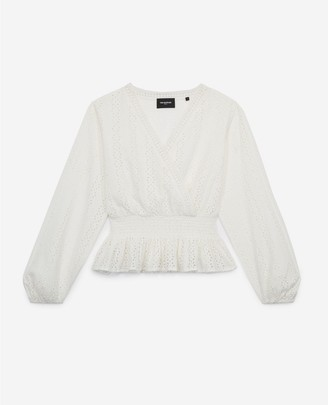 The Kooples Embroidered ecru cotton top w/smocked waist