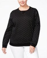 Karen Scott Plus Size Polka-Dot Sweatshirt, Only at Macy's