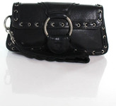 Treesje Black Leather Snap Close Single Strap Wristlet Handbag