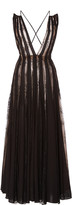 Oscar de la Renta Lace-Paneled Pleated Chiffon Maxi Dress