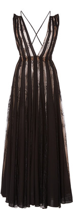 Oscar de la Renta Lace-Paneled Pleated Chiffon Midi Dress