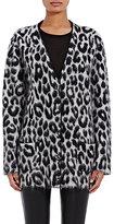 Saint Laurent Women's Leopard-Pattern Oversized Cardigan-BLACK, WHITE